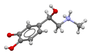 Ball-and-stick model of epinephrine (adrenaline) molecule