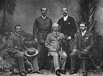 Henry Morton Stanley - Henry M Stanley with the officers of the Advance Column, Cairo, 1890. From the left: Dr. Thomas Heazle Parke, Robert H. Nelson, Henry M. Stanley, William G. Stairs, and Arthur J. M. Jephson