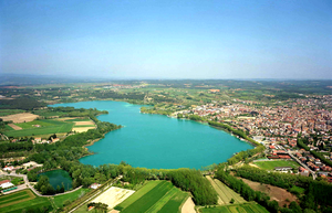 Venues of the 1992 Summer Olympics - Lake Banyoles in 2005. The lake hosted the rowing events for the 1992 Summer Olympics.