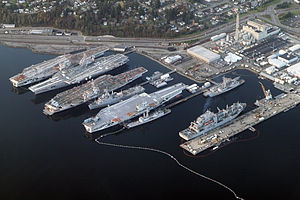 Naval Inactive Ship Maintenance Facility - Aircraft carriers stored at the NISMF in Bremerton, 2012. From left to right: ''Independence'', ''Kitty Hawk'', ''Constellation'' and ''Ranger''.