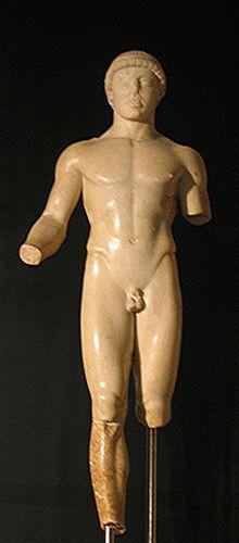 Raffigurazione di Efebo del V secolo a.C. posto all'interno del museo