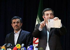 Esfandiar Rahim Mashaei - Ahmadinejad supported Mashaei on the registering day of candidacy