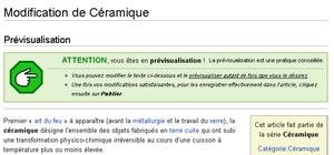 Photo d'écran montrant la page de prévisualisation d'une modification d'une page