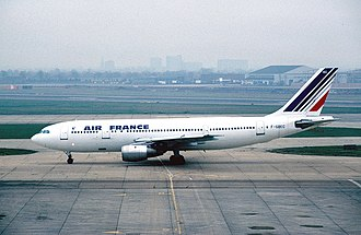 Air France Flight 8969 - F-GBEC, the aircraft involved in the hijacking, at London Heathrow Airport in 1982.