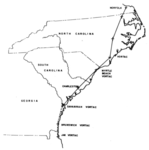 Aircraft flight path from NC to GA, running near the local VORTAC stations.png