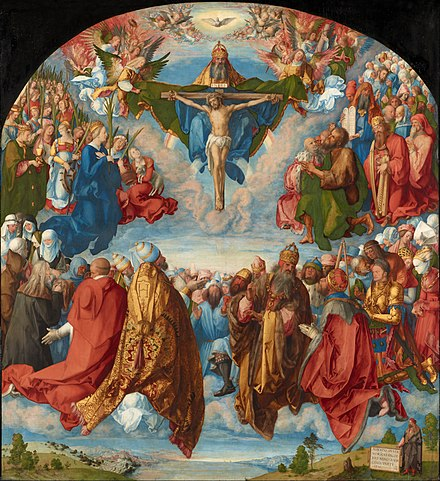 The Adoration of the Trinity by Albrecht Durer (1511). From top to bottom: Holy Spirit (dove), God the Father and the crucified Christ. Albrecht Durer - Adoration of the Trinity (Landauer Altar) - Google Art Project.jpg