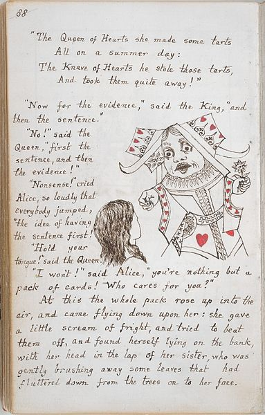 Page from the original manuscript copy of Alice's Adventures Under Ground, 1864.