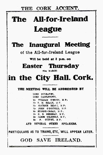 All-for-Ireland League - Announcement of the League's  Inaugural Meeting 31 March 1910