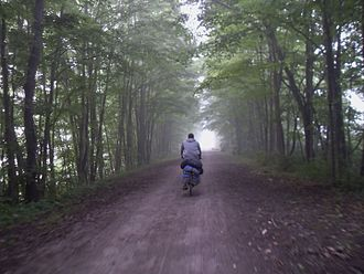 Dead Man's Hollow - A biker approaching Dead Man's Hollow (about 100 yards to the left)