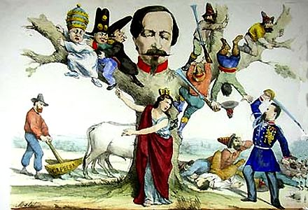 Caricature of the Post-Risorgimento: Italia Turrita at the centre points out to Enrico Cialdini (on the right) all her enemies around Napoleon III (turned into a tree): from the left, Pope Pius IX, Bourbons, clergy, and brigands. In the background, Garibaldi plows his farm. Allegoria italia post1861.jpg