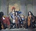 Allegorisch groepsportret, waarschijnlijk voorstellend Anthony de Bordes Sr. die zijn zoon Anthony toevertrouwt aan Minerva Amsterdam Museum SB 6404.jpg
