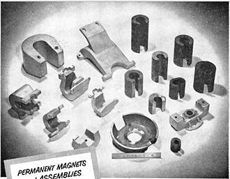 Horseshoe magnet - Image: Alnico horseshoe magnet assortment 1956