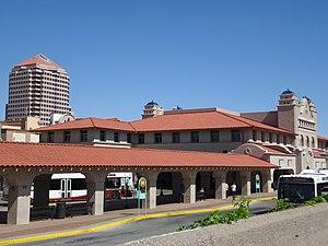 Alvarado Transportation Center - ABQ Ride Bus bay, with Alvarado Building