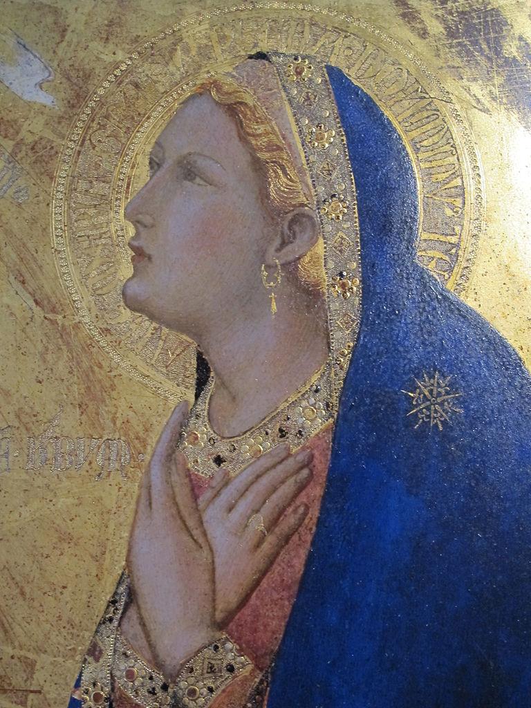 Ambrogio Lorenzetti, Annunciazione, (particolare dell'angelo Gabriele), 1344, Pinacoteca Nazionale, Siena