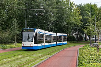 Trams in Amsterdam - Combino tram in the Plantage neighbourhood, in front of the Wertheimpark