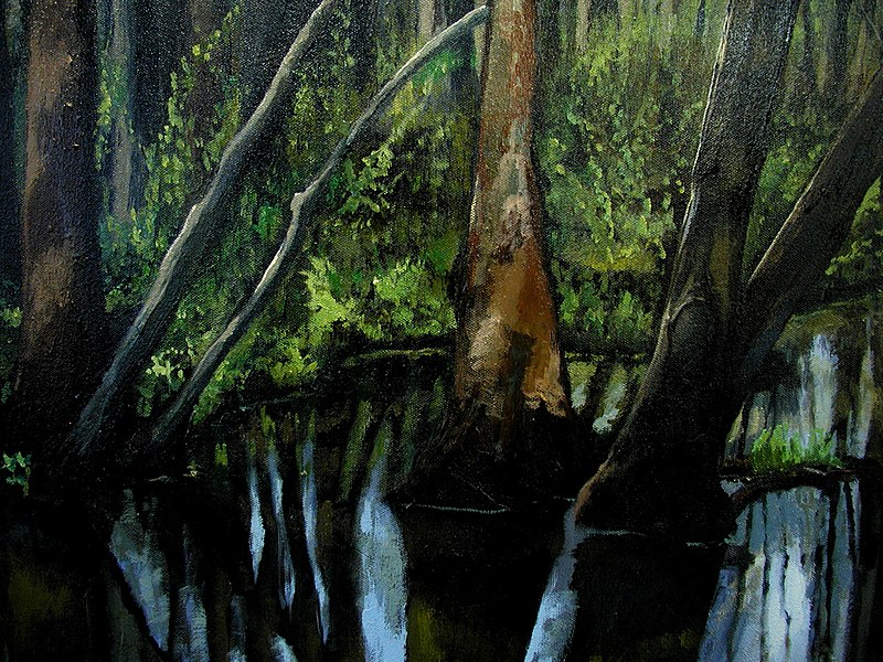 "Amy Feger, ""Panorama at Ebeneezer Swamp""oil on canvas (detail) 1 (3620128478).jpg"