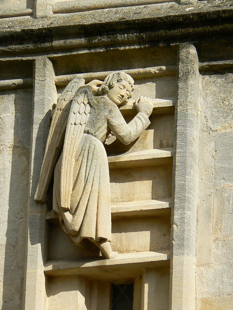 An angel on the way up, Bath Abbey west elevation - geograph.org.uk - 717346