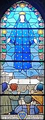 Andrésy (78), église Saint-Germain, bas-côté sud, verrière n° 16 - apparition de la Vierge à Pontmain le 17 janvier 1871.JPG