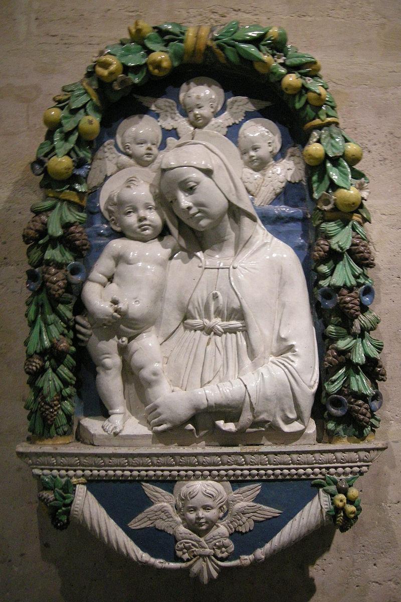 Andrea della robbia (attr.) madonna col bambino e tre cherubini.JPG