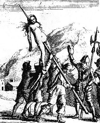 Savoyard–Waldensian wars - Savoyard troops torture a Waldensian woman during Piedmontese Easter in 1655. Image published in 1658.