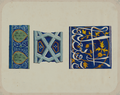 Antiquities of Samarkand. Tomb of the Saint Kusam-ibn-Abbas (Shah-i Zindah) and Adjacent Mausoleums. Mausoluem of Emir Assad. Tiles from Varying Sections of the Mausoleum of Emir Assad WDL3929.png