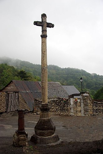Antras, Ariège - The Marble Cross in the village square