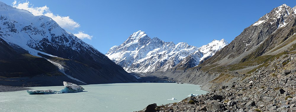 Aoraki mount cook wikipedia aoraki mount cook as seen from the end of the hooker valley track with the hooker glaciers moraine lake in the foreground publicscrutiny Image collections