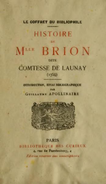 File:Apollinaire - Histoire de Mlle Brion, dite comtesse de Launay.djvu