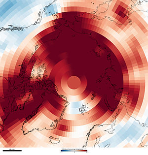 Climate of the Arctic - The image above shows where average air temperatures (October 2010 – September 2011) were up to 3 degrees Celsius above (red) or below (blue) the long-term average (1981–2010).