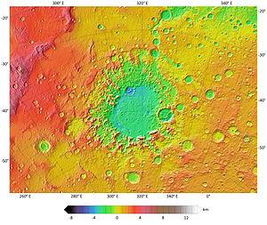 Argyre Planitia - Image: Argyre MOLA zoom 64