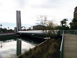 Arizona Canal - Scottsdale Road pedestrian bridge over the canal designed by Paolo Soleri.