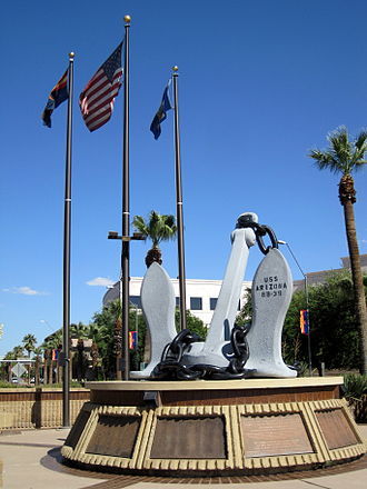 Wesley Bolin Memorial Plaza - Anchor from USS Arizona on display at Wesley Bolin Memorial Plaza, Phoenix, AZ.
