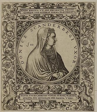 During the Middle Ages, Albanians used several titles for the spouses of Albanian monarchs. Donika Kastrioti was known as the spouse of Gjergj Kastrioti Skanderbeg. Arolsen Klebeband 01 453 3.jpg