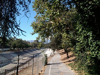Arroyo Seco bicycle path - South entrance to bike path in Montecito Heights.