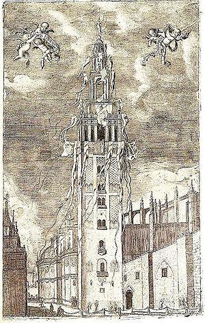Matias de Arteaga - Engraving of the Giralda, published in a work by Fernando de la Torre Farfan in 1672