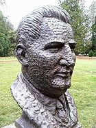 Bust of Arthur Fadden by sculptor Wallace Anderson located in the Prime Minister's Avenue in the Ballarat Botanical Gardens