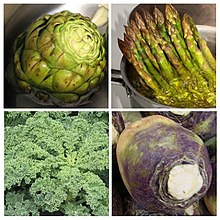 Photographs of the four named vegetables