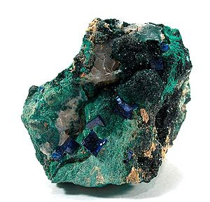 Boleite - Boleite and atacamite from the Santa Rosa Mine, Noche Buena, Municipio de Mazapil, Zacatecas, Mexico)