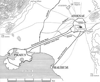 Classical Athens - Map of the environs of Athens showing Piraeus, Phalerum, and the Long Walls