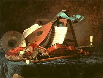 Musical instrument - Anne Vallayer-Coster, Attributes of Music, 1770. This still life painting depicts a variety of French Baroque musical instruments, such as a natural horn, transverse flute, musette, pardessus de viole, and lute.