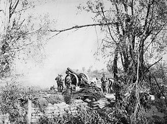 1st Siege Artillery Battery (Australia) - Image: Aust 8inch Howitzer With Scotches Voormezeele 15September 1917