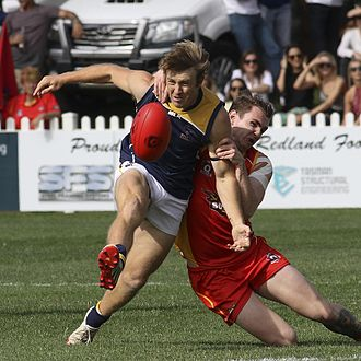 Glossary of Australian rules football - Player executes a drop punt