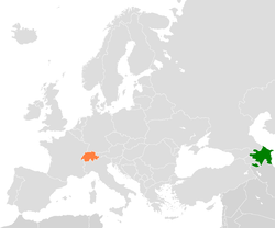 Map indicating locations of Azerbaijan and Switzerland
