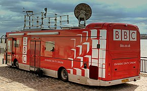 BBC TV AND RADIO OUTSIDE BROADCAST VECHICLE AT LIVERPOOL PIER HEAD MAY 2013 (8817632368).jpg