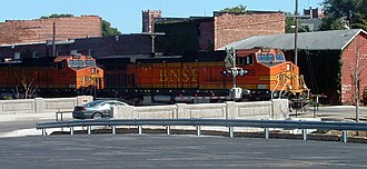 Galesburg, Illinois - A BNSF train passes through central Galesburg near the site of the former Santa Fe depot.