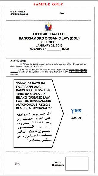 2019 Bangsamoro Autonomous Region creation plebiscite - Image: BOL ballot sample ARMM except Basilan