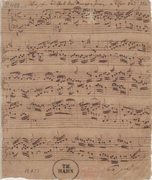 Chorale prelude - Autograph manuscript of the chorale prelude Wie schön leuchtet der Morgenstern, BWV 739, 1705