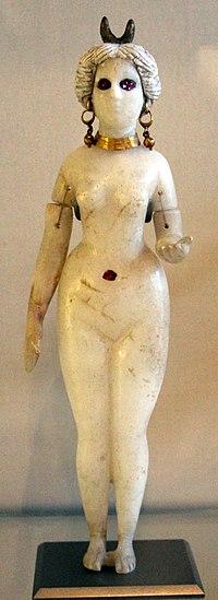 Babilonia, statuetta femminile nuda, forse la gran dea di babilonia, alabastro, oro, rubini e terracotta, III sec ac.-III dc ca..JPG