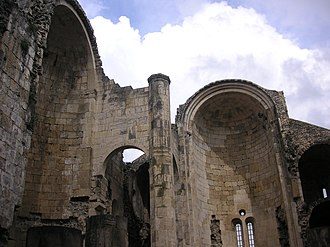 Bagrati Cathedral - Pre-restoration eastern wall of the Bagrati Cathedral seen in 2005 with its ceiling still collapsed
