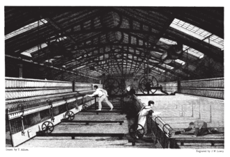 Factory Acts - Image: Baines 1835 Mule spinning